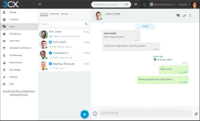 3CX Dashboard for Managing Messages